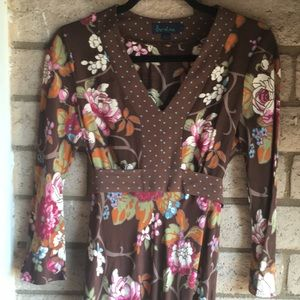 Boden Floral Dress in Brown & Pink
